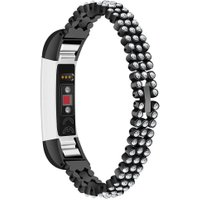 316L Steel 3 Rows Crystal Watchband Strap for Fitbit Alta/Alta HR Black