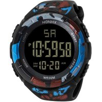 Digital Electronic Men Sports Students Teen Alarm Luminous Watch/Camo Red