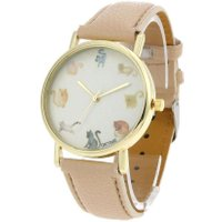 Fashion Cute Cat Theme Round Dial Waterproof Quartz Watch for Kids Students