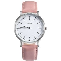 Men Women Leisure Ultra-thin Strap Watch (Pink White Cover)
