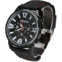 Portable Practical Man Wrist Watch Racing Sporty Quartz Silicon Watchband