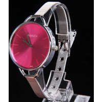 Sketchy Oversize Bezel Fashion Lady Watch with Stainless Steel Narrow Band