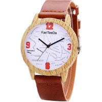 Top Quality Luxury Wooden Leather Strap Women Watch