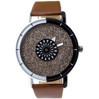 Unisex Starry Sky Analog Leather Round Dial Casual Quartz Watch/Dark Brown