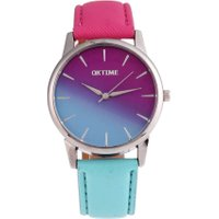 Women Casual Candy Color Watch Leather Strap Belt Quartz Student Watch