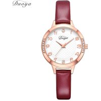 Women Simple PU Leather Watchband Quartz Compact Round Casual Sports Watch